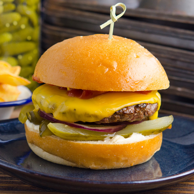 Beef and pickle Burger from The Moody Chef cafe St Leonards